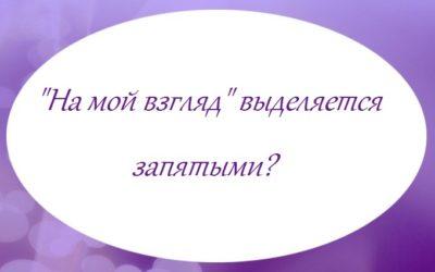 «На мой взгляд» выделяется запятыми?